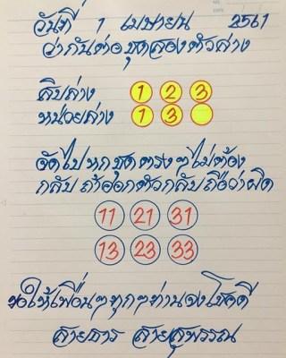 หวยซอง อาจารย์สายธาร1/4/61, หวยซอง อาจารย์สายธาร1-4-61,หวยซอง อาจารย์สายธาร1 เมษายน 61