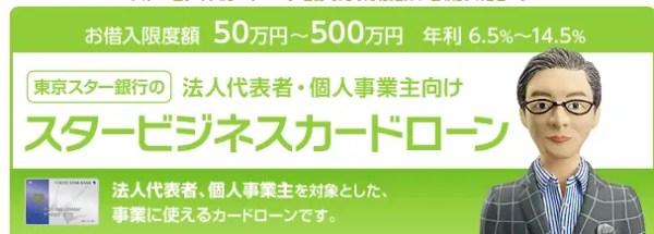 例えば、東京スター銀行「スタービジネスカードローン」の場合