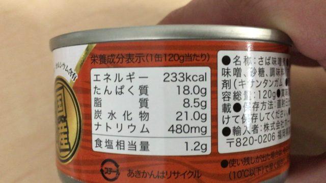 サバの味噌煮のカロリー