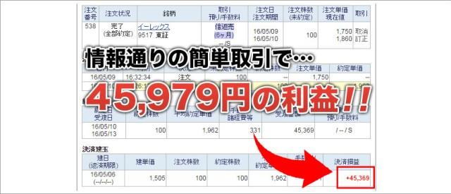 イーレックス 45979円の利益