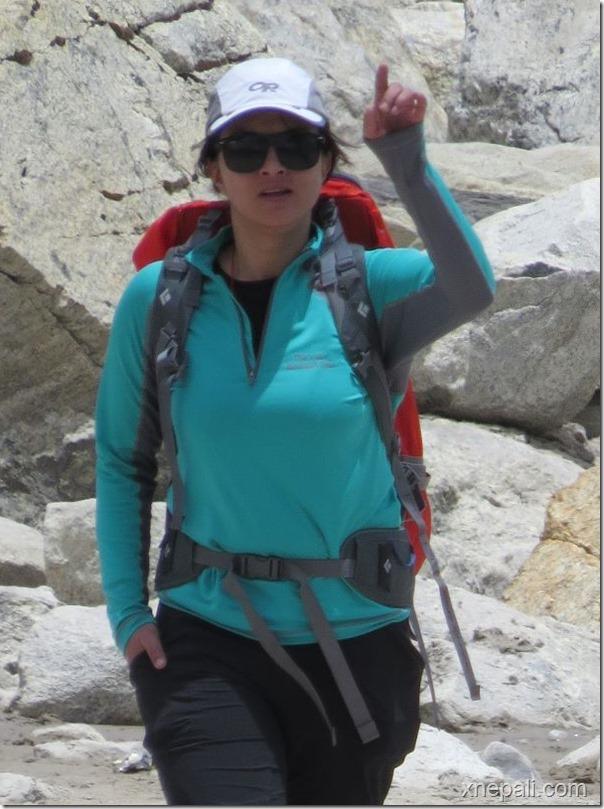 Nisha Adhikari walking in Everest Basecamp (1)