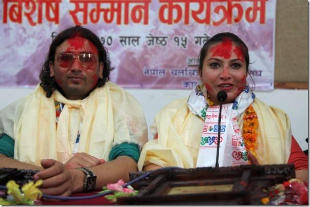 nisha and arjun honored -film artists association