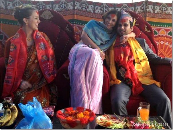 nisha adhikari with brother and sister in law dashain 2070