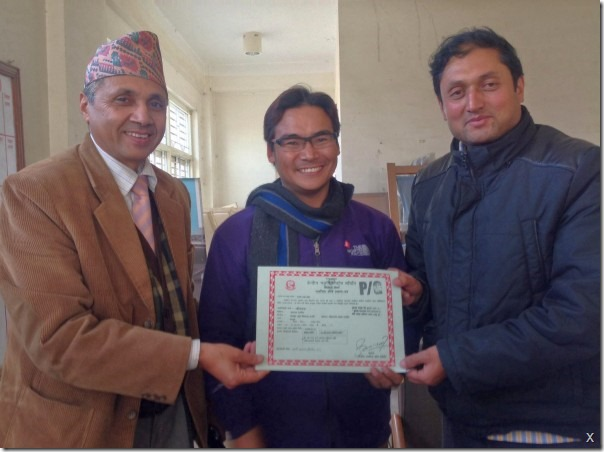 censor board handing over the the certificate to himgyap and Nawal khadka