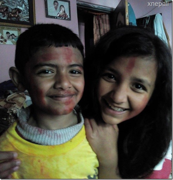saugat bista with his sister