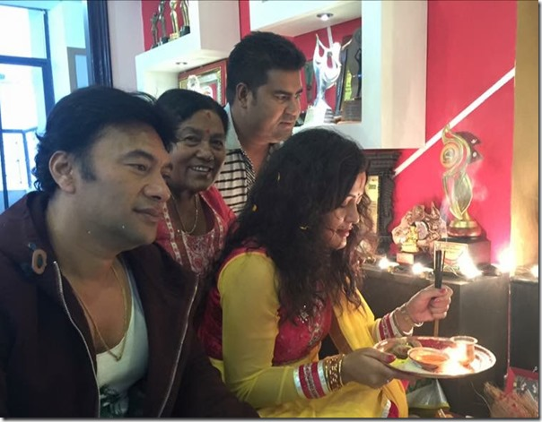 rekha thapa laxmi puja with mom sabir and gopal