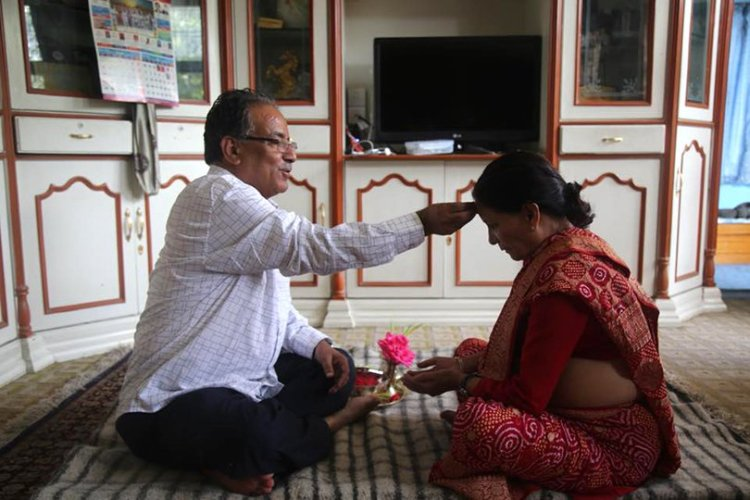 Image result for pic of prachanda and his wife