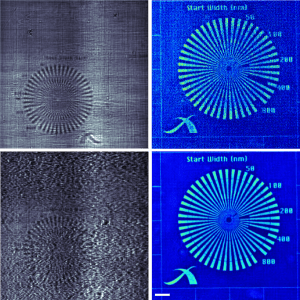 Results from the first near-field ptychography demonstration. Top right: a standard Fresnel diffraction pattern. Top left: the diffraction pattern after scrambling the incident X-ray wavefront using a static diffuser. Bottom: the NF ptychographic reconstructions, showing the beneficial effects of the diffuser for phase retrieval.