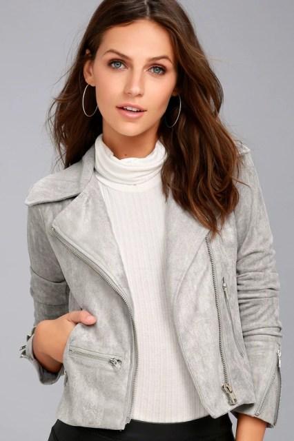 Suede with Love Light Grey Suede Moto Jacket 3