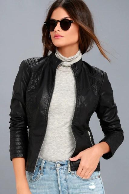 Heartlines Black Vegan Leather Moto Jacket 2
