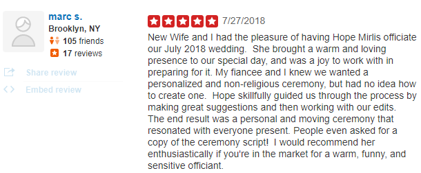 A More Perfect Union Wedding Officiant Reviews New York City