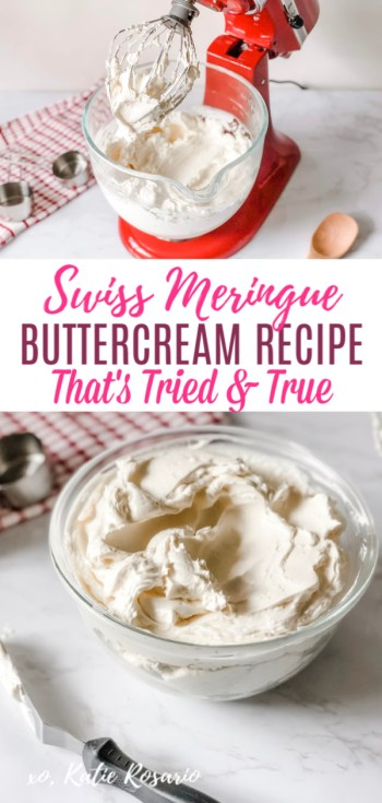 Looking for a tried and true frosting recipe that will impress your friends and family? This Swiss Meringue Buttercream is a light and fluffy frosting that is beyond creamy and always a crowd-pleaser. This silky-smooth Swiss Meringue Buttercream recipe is perfect for cakes, cupcakes, and other tasty desserts like macarons, tarts, and whoopie pies! #xokatierosario #swissmeringuebuttercream #homemadebuttercream #frostingrecipe #cakedecoratingtips