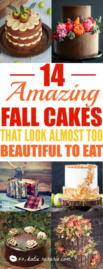 14 Amazing Fall Cakes That Look Almost Too Beautiful to Eat: Sweater weather is not complete without cake!!! Nothing is more beautiful and comforting than fall cakes! This guide is so so perfect for beginner bakers and newbie cake decorators. Pumpkin spice and apple pie in cakes in amazing! I love the fall rich colors! These cakes look too beautiful to eat but hey I'll be eating them! Definitely pinning for later!