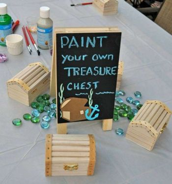 DIY mermaid under the sea. DIY treasure chest paintings. Who doesn't love mermaids?! This is genius! So perfect for kids birthday parties! Under the sea and the little mermaid as a party is awesome! So many DIY ideas that are easy and cheap. Which is even better since we done want to break our budgets throwing a mermaid party. I like the food, dessert, decorating, activity ideas! Love it saving it for later!