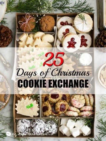 25 Days of Christmas Cookie Exchange: Christmas time is here! Yay! That means cookies!! I love baking and throwing parties! I love the idea of a cookie exchange. It really is genius! Hosting a cookie party for close family and friends sharing cookies and new recipes! I think this will be a new Holiday tradition for sure! Pinning for later!