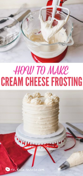 Cream Cheese frosting is creamy and velvety smooth with the perfect balance of tangy and sweet. This cream cheese frosting is a tried and true frosting that is pretty straightforward with only five ingredients required so anyone can make it. Since its so easy to spread and pipe its a great frosting to use for cake decorating. #xokatierosario #creamcheesefrosting #easycreamcheesefrosting #creamcheesefrostingforcakes