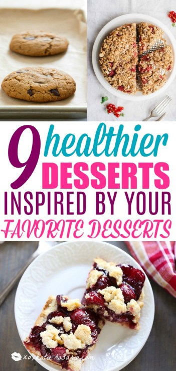 9 Healthier Desserts That Are Actually Delicious. Learn how easy it is to make your favorite desserts healthy. These 9 dessert recipes are gluten free, refined sugar free, dairy free and some are vegan as well. It is easy to stick to your diet or healthy lifestyle with these delicious desserts that are actually healthy! This is a must try! #healthydesserts #dessertrecipes #healthdesserts