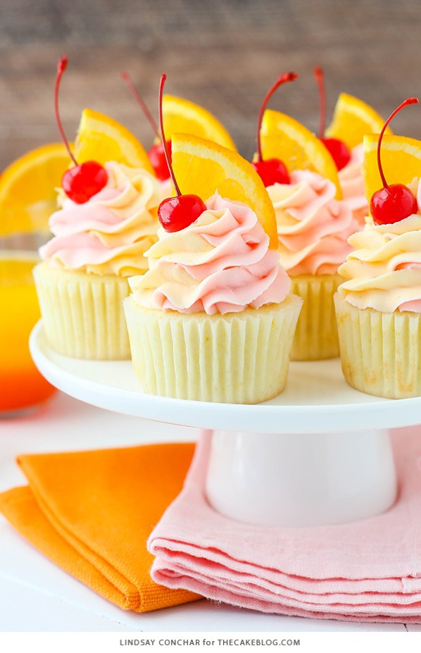 Tequila Sunrise Cupcakes, Cocktail Inspired Dessert Recipes