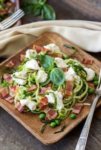 Zucchini Noodles with Bacon Ricotta and Peas | Low Carb Lunch Recipes
