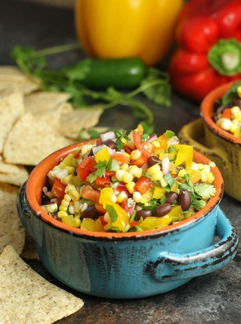 Corn Salsa with black bean Dip Quick Appetizers for Easy Entertaining