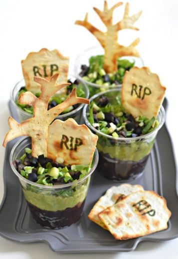Graveyard Taco Cups | Halloween Party Appetizers