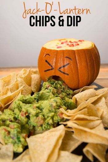 Jack O Lantern Chips and Dip | Halloween Party Appetizers