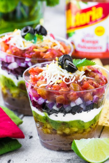 7 Layer Dip Cups | Football Game Day Snacks