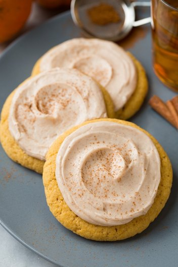 Pumpkin Sugar Cookies with Cream Cheese Frosting | Fall Cookie Recipes