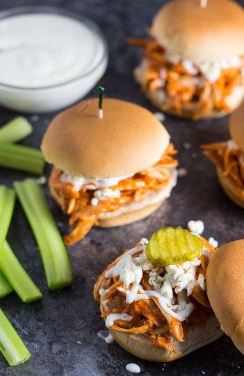 Shredded Buffalo Chicken Sliders | Easy Slider Recipes
