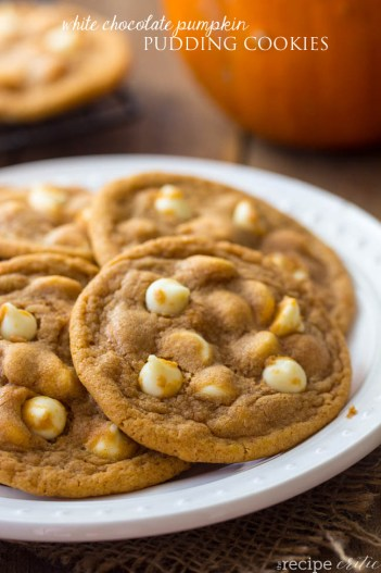 White Chocolate Pumpkin Pudding Cookies | Fall Cookie Recipes