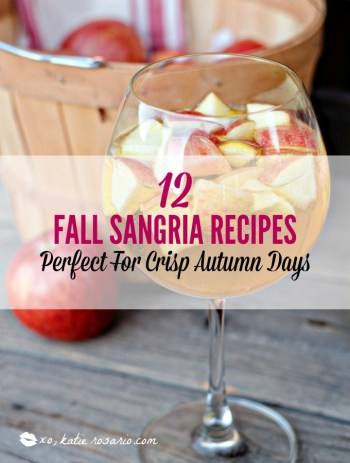 Sangria is a fun and versatile cocktail that is delicious and refreshing all year round. Theses beautiful fall sangria cocktails are beyond perfect for the crisp autumn days. These sangria recipes have the best fall flavors all in one cup. My favorite part is the wine soaked fruit at the bottom of the glass! #xokatierosario #sangriarecipes #sangriacocktails #fallsangria