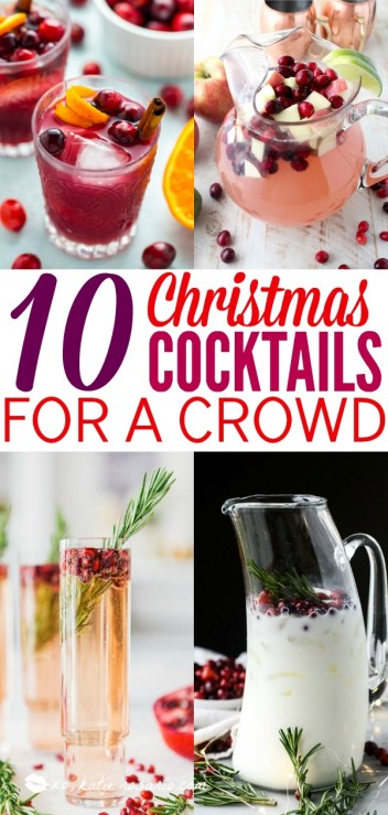 When it's cold outside there's nothing better than a handcrafted cocktail to warm you up! These Christmas cocktails for a crowd are great for holiday entertaining! That way guest can help themselves and you look like a superstar! Here's 10 Handcrafted Christmas Cocktails Ready for a Crowd! #xokatierosario #christmascocktails #cocktailsforacrowd #christmasdrinkideas