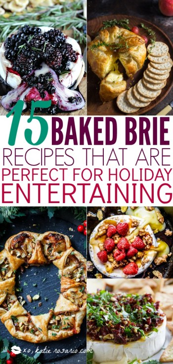 Since brie is a more mild cheese you easily pair with anything and I mean anything! You can never go wrong with baked cheese smothered in honey and figs, cranberry and rosemary or caramelized bacon! Here are 15 Baked Brie Recipes That Are Perfect for Holiday Entertaining! #xokatierosario #bakedbrierecipes #holidayappetizers #easybakedbrie