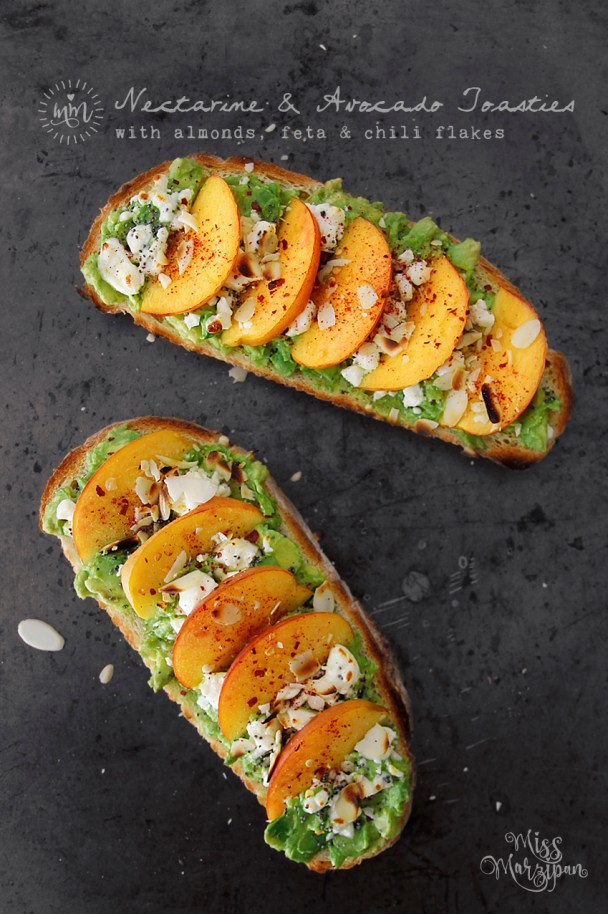 Nectarine Avocado Toast with Almonds, Feta and Chili Flakes | 13 Fancy Avocado Toasts That Are Totally Craveable