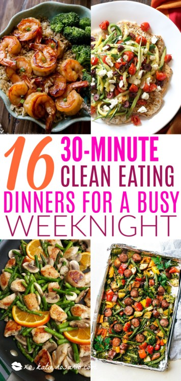 Today we are looking at 16 clean eating dinners that'll take 30 minutes to make. It's nice to have some quick and easy clean eating recipes like these that you can refer back to. These healthy meals take 30 minutes so you can enjoy the rest of your night full and satisfied. #xokatierosario #cleaneatingdinnerrecipes #healthymeals #30minuterecipes
