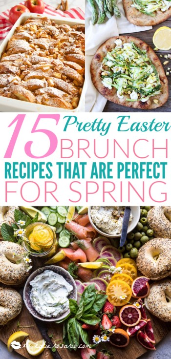 15 Pretty Easter Brunch Recipes That Are Perfect for Spring | These Easter brunch recipes are perfect for entertaining or enjoying a weekend brunch any time. You'll happily enjoy these creative brunch recipes on Easter morning. There's many sweet and savory brunch recipe to choose from the easiest french toast bake to a sourdough egg casserole and more. Here are 15 Easter Sunday brunch recipes to feed a crowd! #xokatierosario #easterbrunchrecipes #easterbrunch #easybrunchrecipes