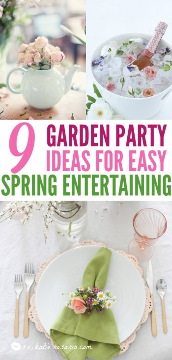 The perfect way to welcome the spring is to host a Garden Party. If DIY is your middle name, then you will love these garden party ideas. These garden party ideas are simple and easy to make but will have a significant impact on your garden party. There's no better way to celebrate spring than with a fun and festive DIY garden party. #xokatierosario #DIYgardenpartyideas #easygardenpartyideas #vintagegardenparty