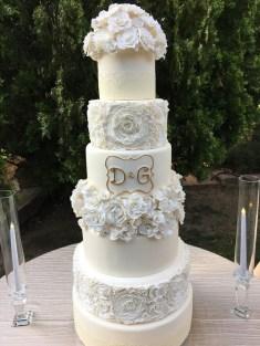 6 Tier White Wedding Cake