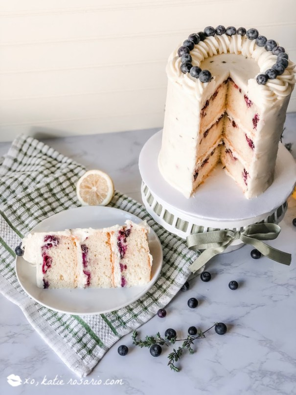 Lemon blueberry thyme is a deliciously fresh and flavorful cake that celebrates all things Spring. This cake is made with a zesty lemon cake that is studded fresh blueberries, and it's layered with a creamy lemon thyme buttercream. This cake is unique with its approach and technique, but it's easy for any beginner baker to make and feel like a professional.