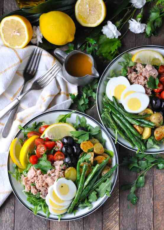 Nicoise Salad | Learn how to make these traditional French recipes for yourself without taking hours or complicated techniques. These quintessentially French dishes are simple for every home cook to feel like a top chef. Here are 12 Classic French Dishes That'll Take One Hour or Less To Make! #xokatierosario #quickfrenchrecipes #frenchdishes #easyfrenchcooking