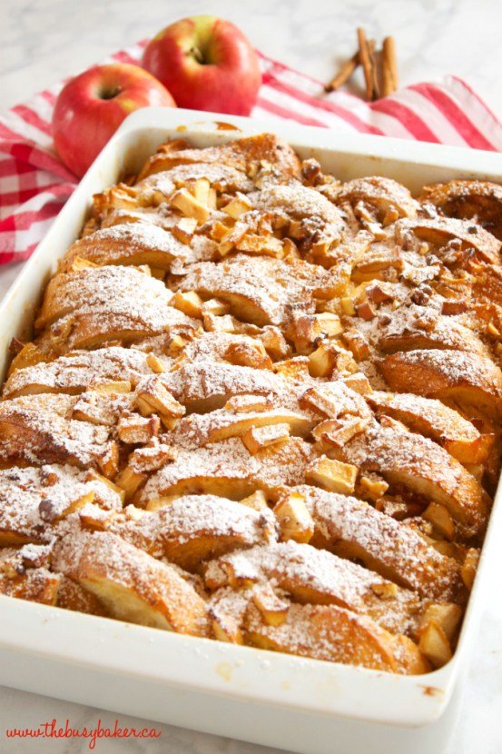 Apple Cinnamon French Toast Casserole | These Easter brunch recipes are perfect for entertaining or enjoying a weekend brunch any time. You'll happily enjoy these creative brunch recipes on Easter morning. There's many sweet and savory brunch recipe to choose from the easiest french toast bake to a sourdough egg casserole and more. Here are 15 Easter Sunday brunch recipes to feed a crowd! #xokatierosario #easterbrunchrecipes #easterbrunch #easybrunchrecipes