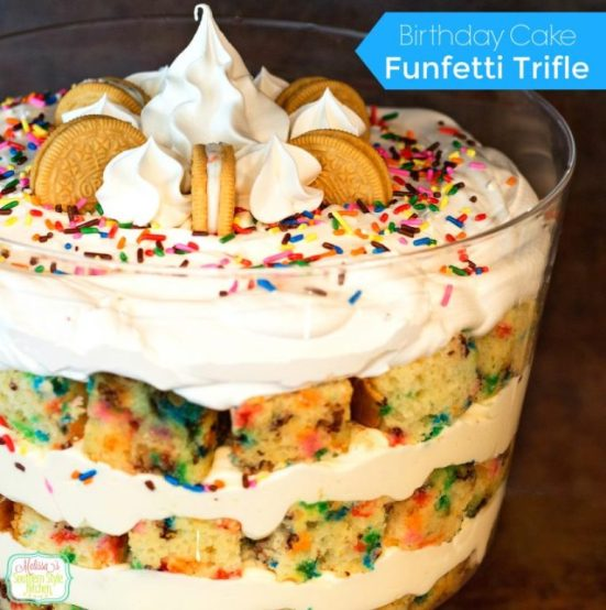 Funfetti Birthday Cake Trifle | Do you wish that every day can be your birthday? Making funfetti birthday cake is like celebrating your birthday anytime you want. Funfetti birthday cake is a moist vanilla cake that is studded with rainbow sprinkles, so it looks like confetti. You can choose from cinnamon rolls, biscotti, whoopie pies, and even white hot chocolate! #xokatierosario #funfettibirthdaycake #birthdaycakedesserts #funfetticakedesserts