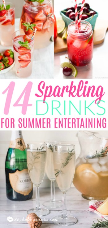These sparkling drinks are fantastic for summer entertaining. Whatever sparkling drinks you choose to make this summer, your thirst will be quenched, and you'll stay relaxed and happy in the summer heat. Here are 14 Sparkling Drinks That'll Keep You So Refreshed! #xokatierosario #sparklingdrinks #sparklingcocktails #sparklingnonalcoholicdrinks #summerentertaining