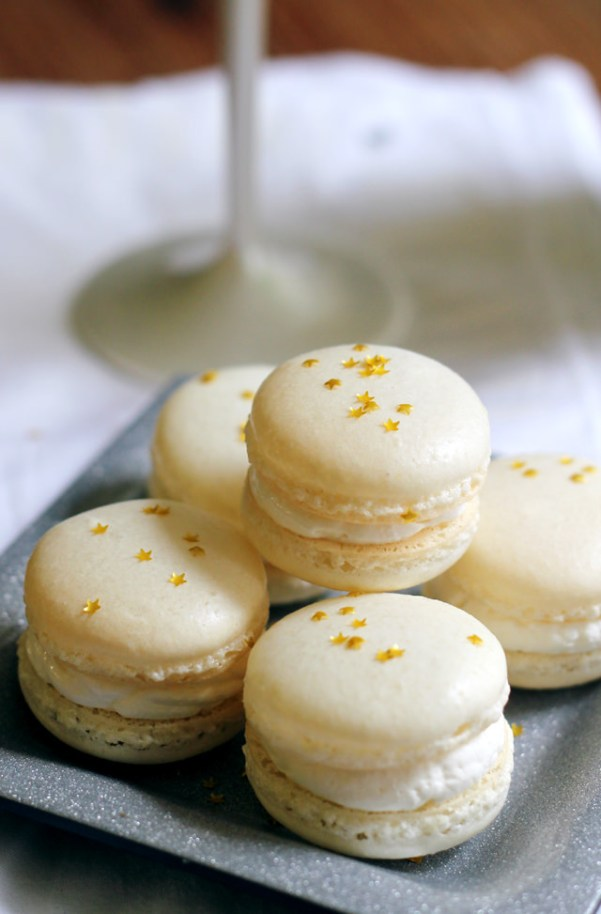Champagne Macarons | Champagne is a luxurious ingredient that elevates each dessert and makes them the star of the show. These desserts taste not only incredible like a glass of champagne but also look stunning. These Champagne desserts are rich and decadent and perfect for celebrating Mother's Day, Bridal Showers or just because it's the weekend! #xokatierosario #champagnedesserts #champagnerecipes #mothersdayrecipes