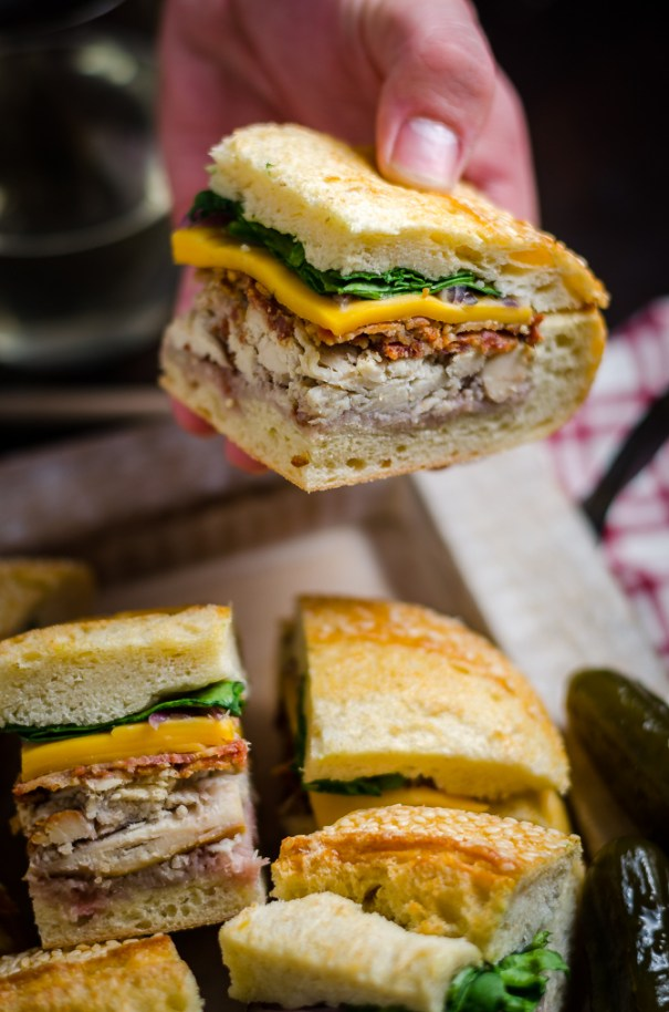 Pressed Picnic Chicken and Bacon Sandwich | Looking for quick and refreshing picnic recipes? You must try these picnic recipes that are perfect for making ahead of time and eating outdoors. With these summer picnic recipes, all the work is done ahead of time, prepare these delicious recipes at home before storing them in a cooler to take with you. #xokatierosario #picnicrecipes #picnicfoodideas #outdoorentertaining