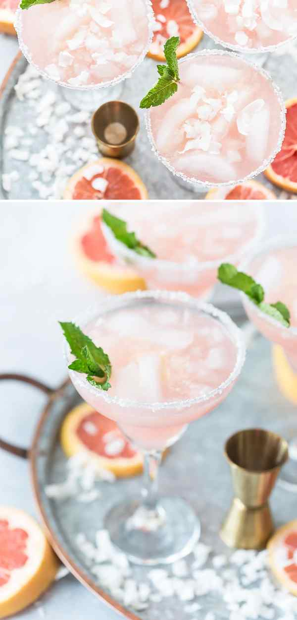 Coconut Grapefruit Margaritas | What I love most about these margarita recipes is how easily you can make these drinks ahead of time and in large batches. It's really cool how you can take simple ingredients like tequila, fruit juice, and salt and make a ton of delicious flavors. You can choose from bold and flavorful margaritas like coconut grapefruit, blackberry thyme, strawberry basil, and fresh lime & jalapeno. #xokatierosario #cincodemayo #margaritarecipes #easymargaritas