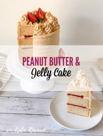 This Peanut Butter and Jelly Cake will make going back to school a whole lot sweeter! This cake is a perfect representation of a standard afternoon snack. Your kitchen will fill up with the smells of sweet peanut butter and tart strawberry jam! Learn how to make this homemade PB & J cake recipe tutorial that's perfect for beginner bakers. #xokatierosario #peanutbutterandjelly #pbjcake #afternoonsnackideas #backtoschoolideas