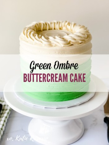 Looking for a super simple St. Patrick's Day cake design? This green ombre cake is perfect for beginner bakers! This green ombre cake is made with fluffy black velvet cake layers filled with green ombre buttercream! This cake is perfect for brand new bakers. It's simple and easy to decorate when you are first starting. When you complete this cake, you'll feel like a more confident cake decorator! #xokatierosario #greenombrecake #blackvelvetcake #ombrebuttercreamcake #stpattydaycake