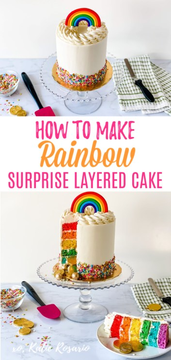 Looking for a fun and unique cake idea for St. Patrick's day? This Rainbow surprise cake is easy to make, and it's a definite crowd pleaser! The best way to describe this cake is the pot of gold at the end of the rainbow! The golden candy spills out for the best surprise! Rainbow Surprise Cake That's Ready for Celebrating St. Patrick's Day. #xokatierosario #stpatricksday #rainbowcake #rainbowcakeideas #stpatricksdaytreats