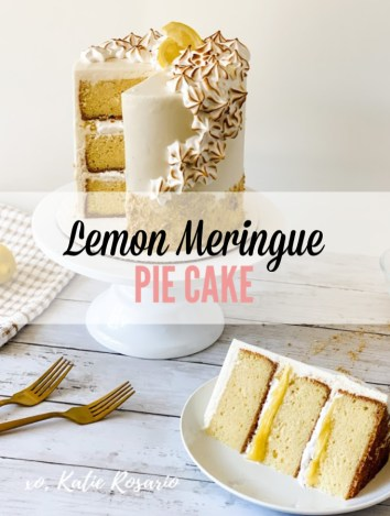 Learn how to make this sweet and tart lemon meringue pie cake! This lemon meringue pie cake tastes just like your favorite summer pie. It has all the same qualities you love about this classic pie; it has the perfect crust, tart curd filling, and torched meringue. Make this lemon meringue pie cake for summer BBQs, outdoor picnics, or fun beach days! #xokatierosario #lemonmeringuepie #lemonmeringuecake #summercakeideas #cakedecoratingtips